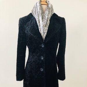 Long Black Chenille Coat